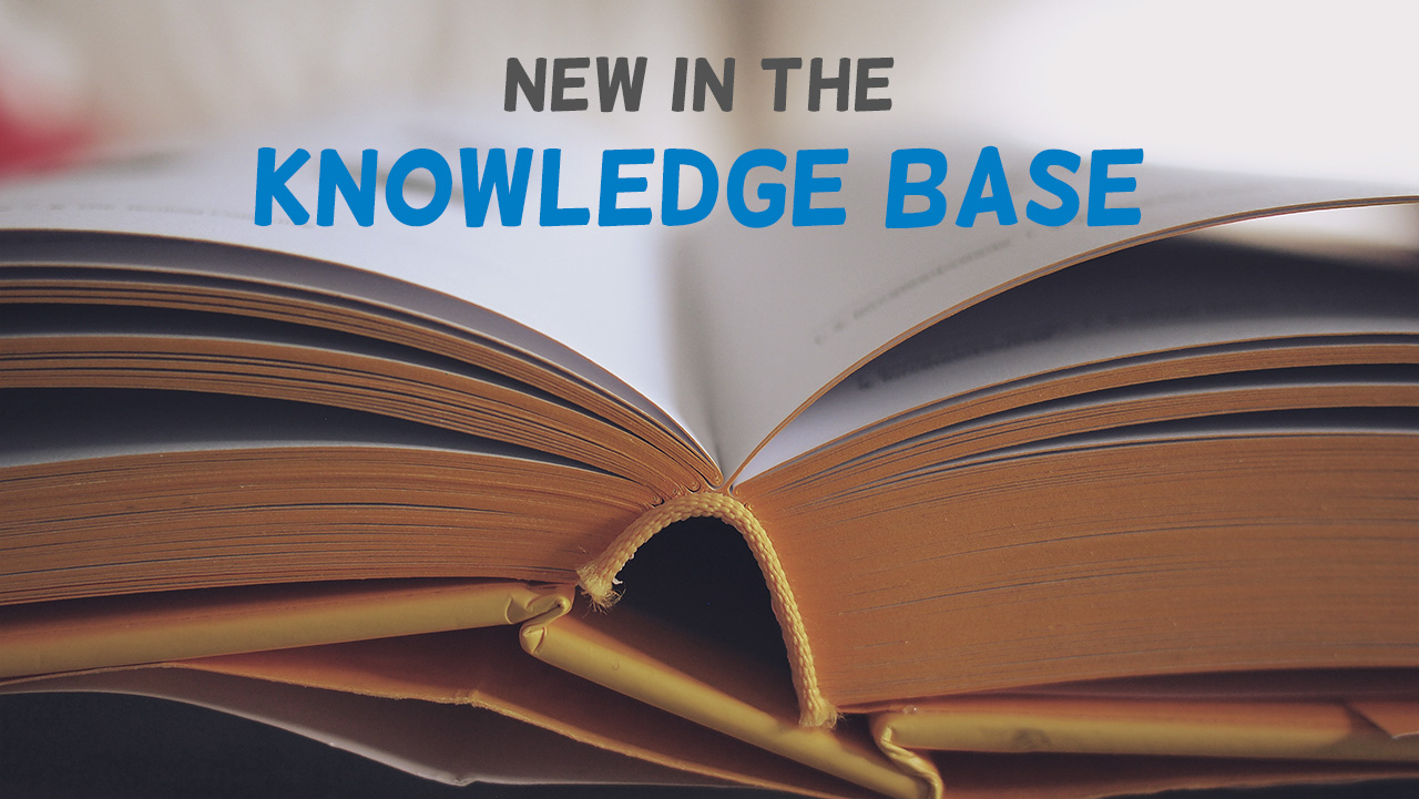 New in the Knowledge Base