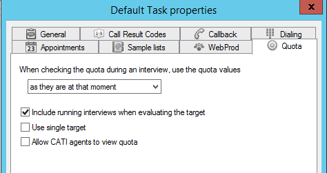 Default quota settings in askiafield