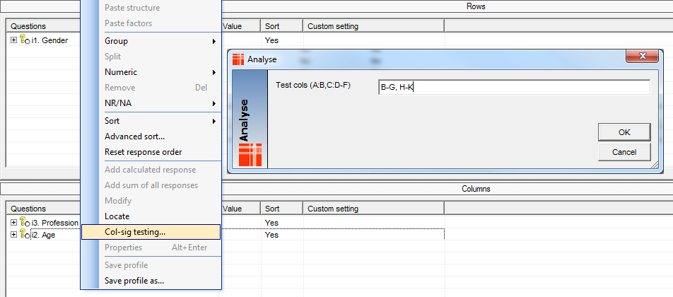 Specify test columns in column profile