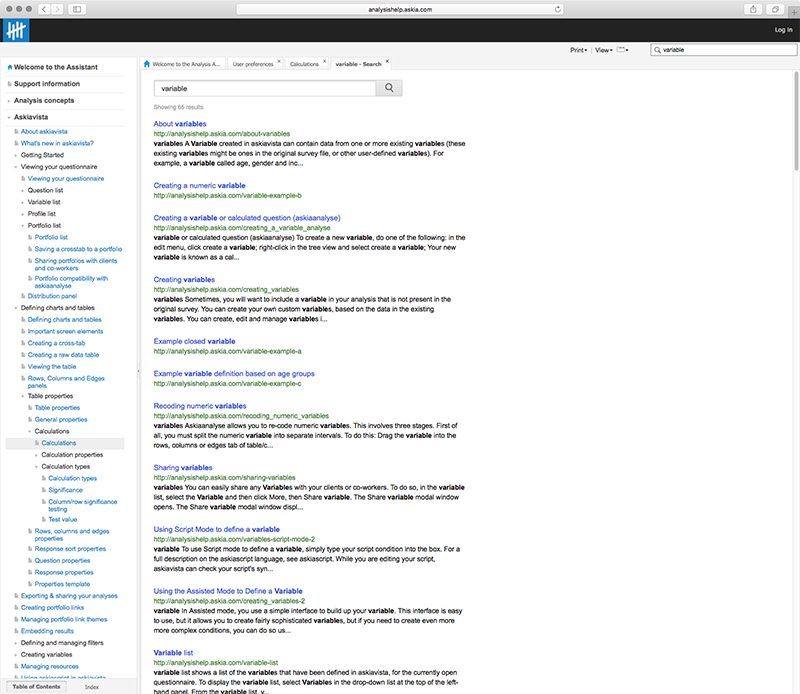 Screenshot of online documentation search results
