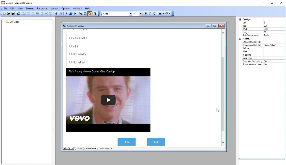 Embed an online video in an Askia survey screenshot