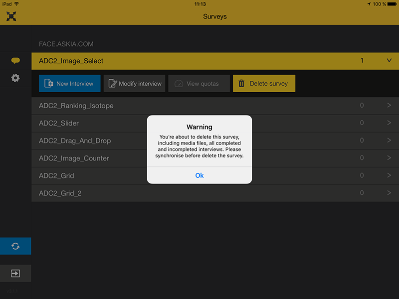 Remove survey warning in askiaface for iOS screenshot