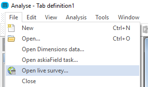Open live task in Analyse